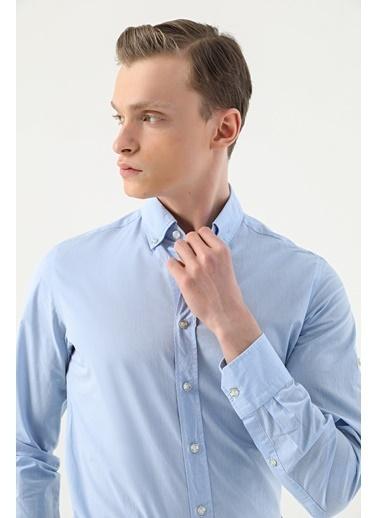 Damat Damat Slim Fit Beyaz Düz Yaka İğneli Gömlek Mavi
